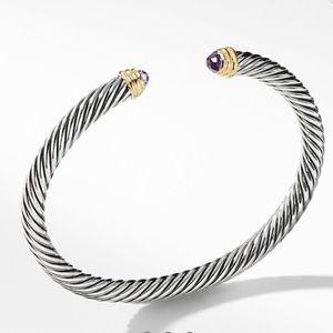David Yurman Cable Bracelet Amethyst 14K Gold, 5mm